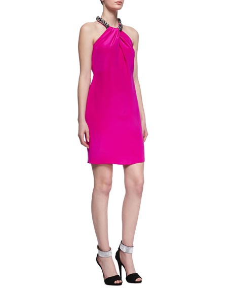 Beaded Halter Silk Cocktail Dress