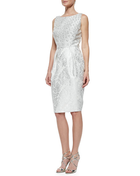 Beaded Bodice Jacquard Cocktail Dress