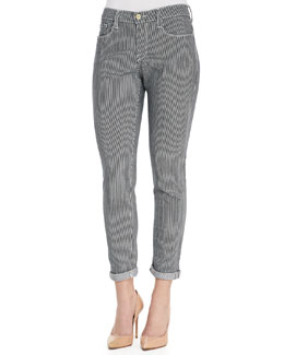 Frame Denim Le Garcon Striped Twill Pants, Metro