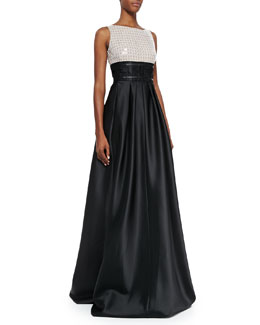 Carmen Marc Valvo Sleeveless Two-Tone Gown, Ivory/Black