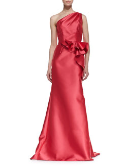 Carmen Marc Valvo One-Shoulder Ruffle Draped Gown, Watermelon