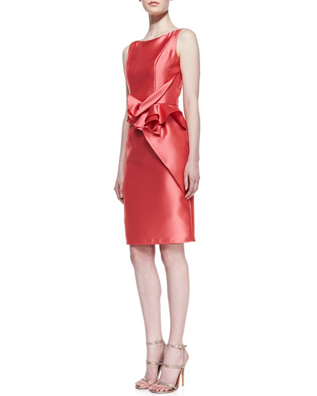 Sleeveless Ruffle-Waist Cocktail Dress, Coral