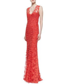 Monique Lhuillier Sleeveless Open-Back Lace Gown, Poppy