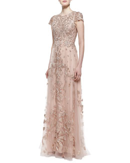Monique Lhuillier Cap Sleeve Embroidered Tulle Gown, Cherry Blossom