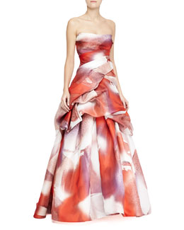 Monique Lhuillier Strapless Silk Tufted Ball Gown, Multicolor