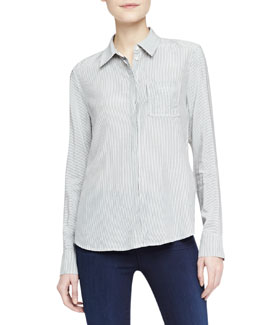 J Brand Jeans Hilary Striped Oxford Contrast-Back Blouse