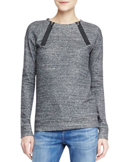 J Brand Jeans Laura Zip-Neck Fleece Sweatshirt