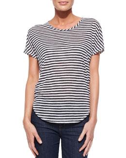 J Brand Jeans Walker Shore-Stripe Slub Tee