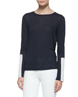 J Brand Jeans Amirah Drapey Soft-Jersey Tee Shirt
