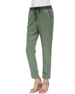 AG Adriano Goldschmied Drawstring Weekend Pants, Sulfur Basil