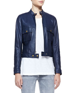 Current/Elliott Leather Front-Zip Moto Jacket