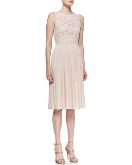 Catherine Deane Sleeveless Floral & Pleated Skirt Cocktail Dress