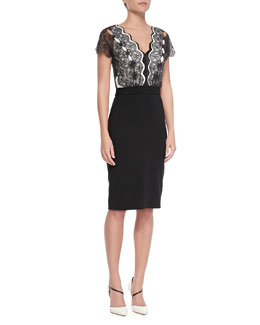 Catherine Deane Short-Sleeve Lace-Bodice Cocktail Dress, Black/Cream
