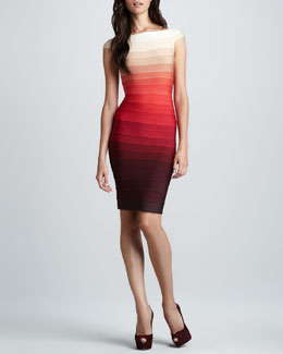 Herve Leger Ombre-Stripe Cap-Sleeve Bandage Dress