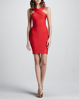 Herve Leger Cut-In Bandage Dress, Coral Poppy