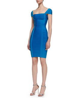 Herve Leger Cap Sleeve Bandage Dress, Deep Ocean Blue