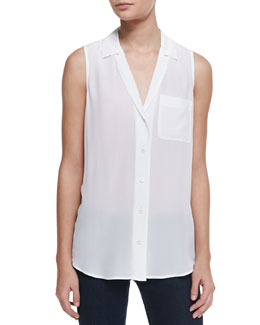 Keira Silk Button-Up Top