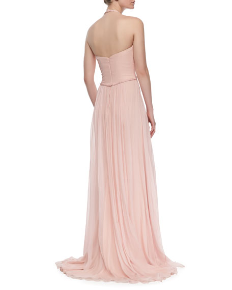 Draped Silk Chiffon Halter Gown