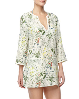 Tory Burch Tomino Linen Coverup Tunic