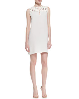 Diane von Furstenberg Hope Basketweave-Yoke Sleeveless Dress
