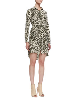 Diane von Furstenberg Prita Feathered Leopard Shirtdress with Tie Belt, Celadon