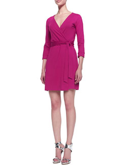 Diane von Furstenberg New Julian Two Mini Wrap Dress, Pink Dahlia