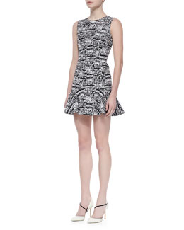 Diane von Furstenberg Jaelyn Sleeveless Flutter Dress, Black/White