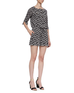 Diane von Furstenberg Opal Jungle Animal-Pattern Short Romper