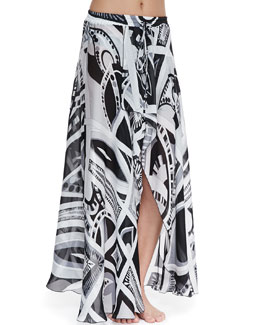 Emilio Pucci Taitu-Print Silk Coverup Skirt
