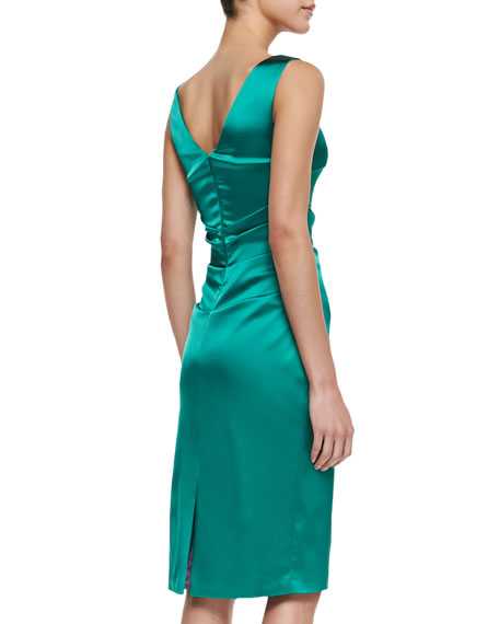 Dowina Sleeveless Ruched Satin Cocktail Dress