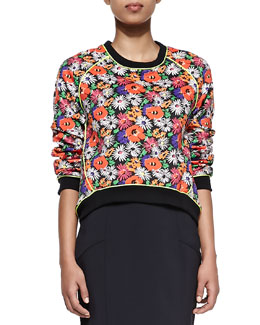 Veronica Beard Hothouse Floral-Print Scuba Sweatshirt