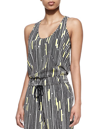 Traffic Stripe-Print Silk Tank Top