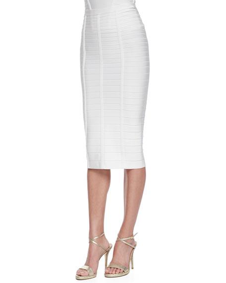 e689198c8 Herve Leger Sia Below-The-Knee Bandage Skirt, Alabaster