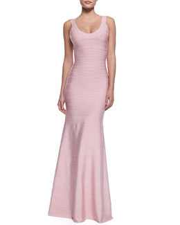 Herve Leger Ellen Scoop-Neck Bandage Gown