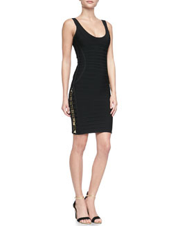 Herve Leger LilyKate Hardware Bandage Dress, Black