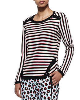 Veronica Beard Stripe Knit Long-Sleeve Pullover
