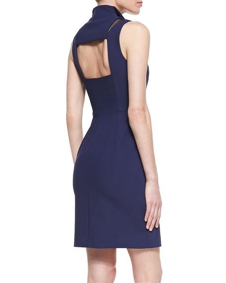 Open-Back Mesh Cutout Cocktail Dress