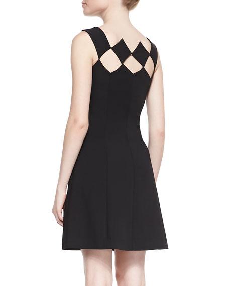 Sleeveless Diamond Bodice Fit & Flare Dress, Noir