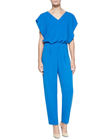 Short-Sleeve Shirred Silk Jumpsuit