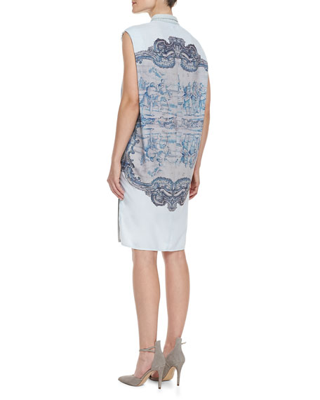 Sleeveless Printed-Back Chambray Dress