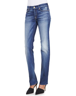 7 For All Mankind Kimmie Super Grinded Blue Straight-Leg Faded Jeans