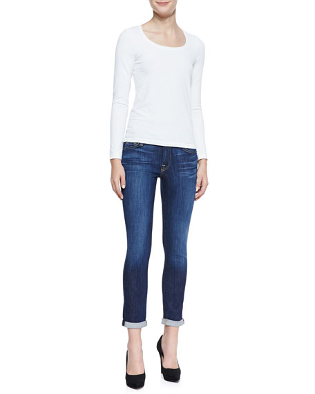 Skinny Cropped & Rolled Jeans, Powdered Blue