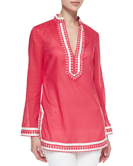 Tory Burch Tory Embroidered Split-Neck Tunic