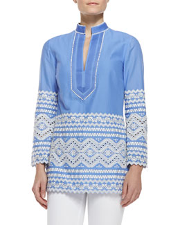 Tory Burch Zita Embroidered V-Neck Tunic