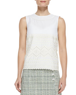 Tory Burch Seraphina Embroidered Sleeveless Cotton Top