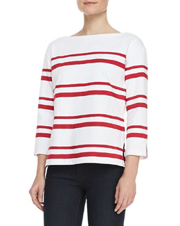 Tory Burch Kendall Carnival-Stripe Jersey Top
