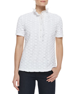 Tory Burch Lidia Lace & Ruffles Polo Shirt