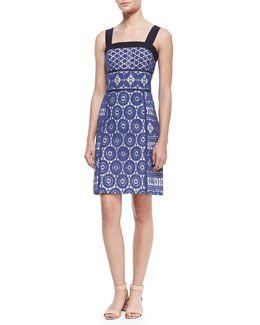Tory Burch Margaux Lace-Overlay Sleeveless Dress