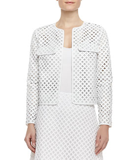 Tory Burch Kyra Laser-Cut Leather Jacket