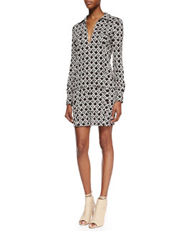 Diane von Furstenberg Dilly Long Sleeve Wicker Print Shirt Dress, Black/Caning Mocha